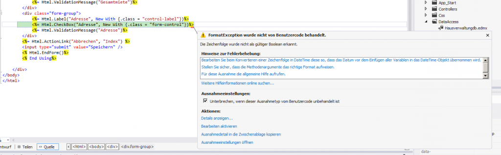 ASPX FormatException bei HTML-Helper
