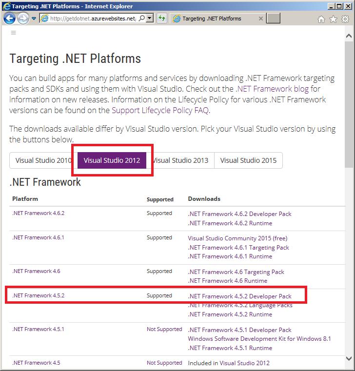 Richtiges .NET-Framework für Ihr Visual Studio auswählen